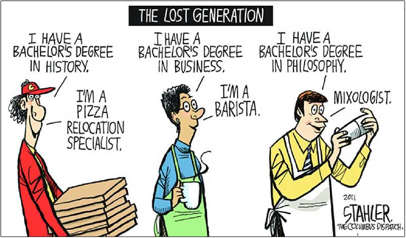Lost generation, underemployed graduates
