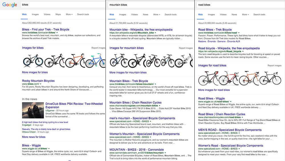 Google search variations