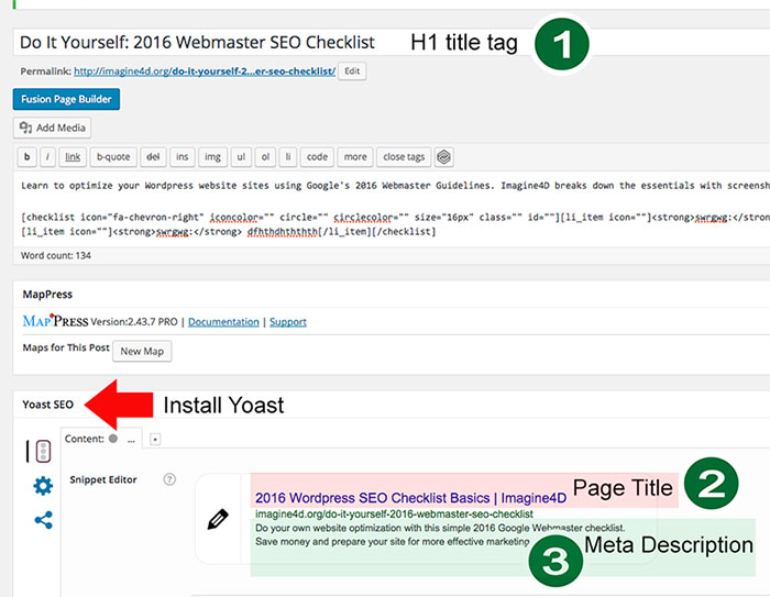 Screenshot of meta data bast practices on a WordPress page using Yoast SEO